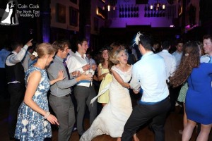 Durham Castle Wedding Reception Disco guests having an amazing time dancing to great music!