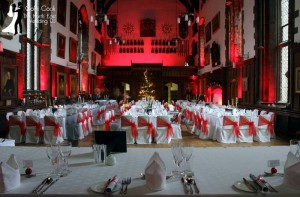 Durham Castle Great Hall with Uplighting in Red for this Christmas Wedding