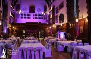 Durham Castle with Uplighting in Purple