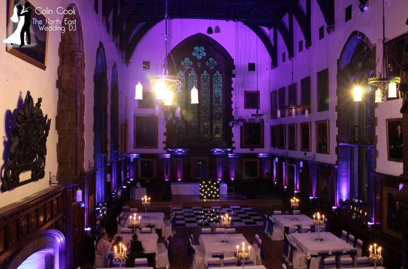 Evening Wedding Reception Disco with Uplighting ready for a great party at Durham Castle