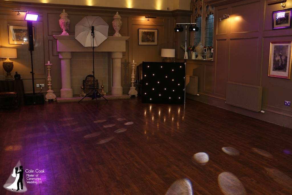 Set up for an evening Wedding Disco at Ellingham Hall. Neat, Discreet and high quality equipment. Available in White too for all day bookings