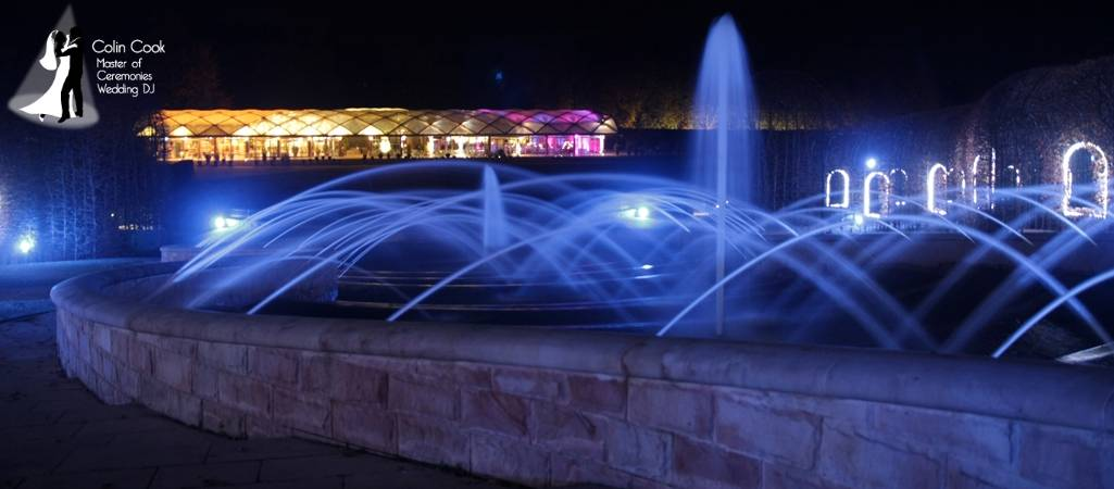 Beautiful Alnwick Garden Pavilion. Even from the Grand Cascade the Uplighting makes the Pavilion glow beautifully